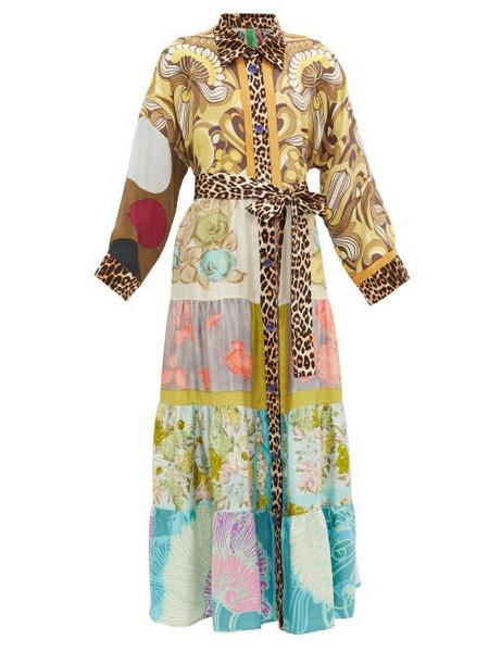 Rianna + Nina Rianna + Nina - Vintage Patchwork Silk Maxi Shirt Dress - Womens - Multi