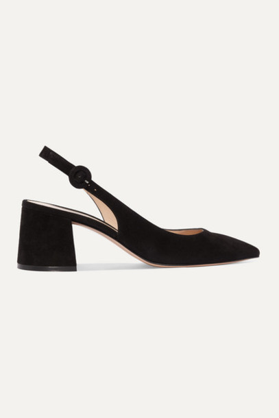 Gianvito Rossi - 60 Suede Slingback Pumps - Black