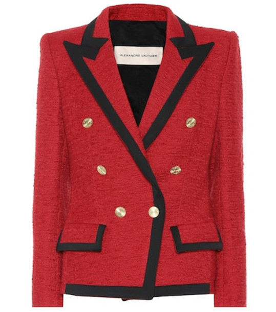 Alexandre Vauthier Double-breasted tweed blazer in red