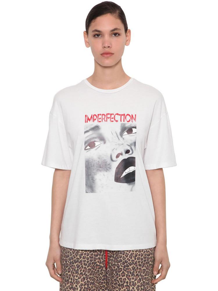 ANNAKIKI Printed Cotton Jersey T-shirt in white