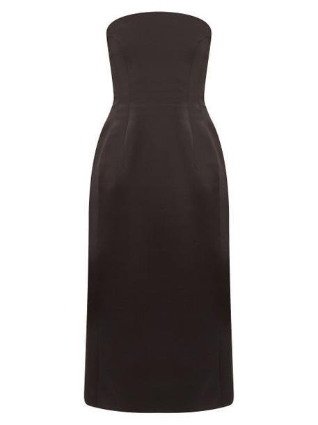 Marina Moscone - Strapless Wool Blend Satin Midi Dress - Womens - Black