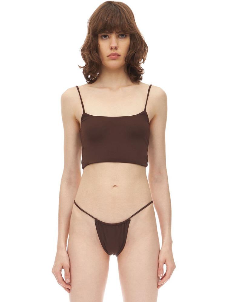 AEXAE Strap Lycra Bikini Crop Top in brown