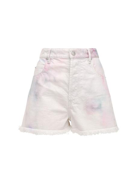 ISABEL MARANT ÉTOILE Lesiabb Bleached Denim Shorts in white / multi
