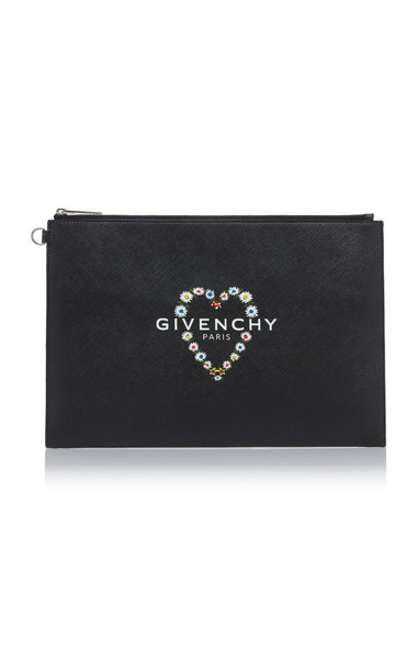 Givenchy Printed Textured-Leather Pouch in black