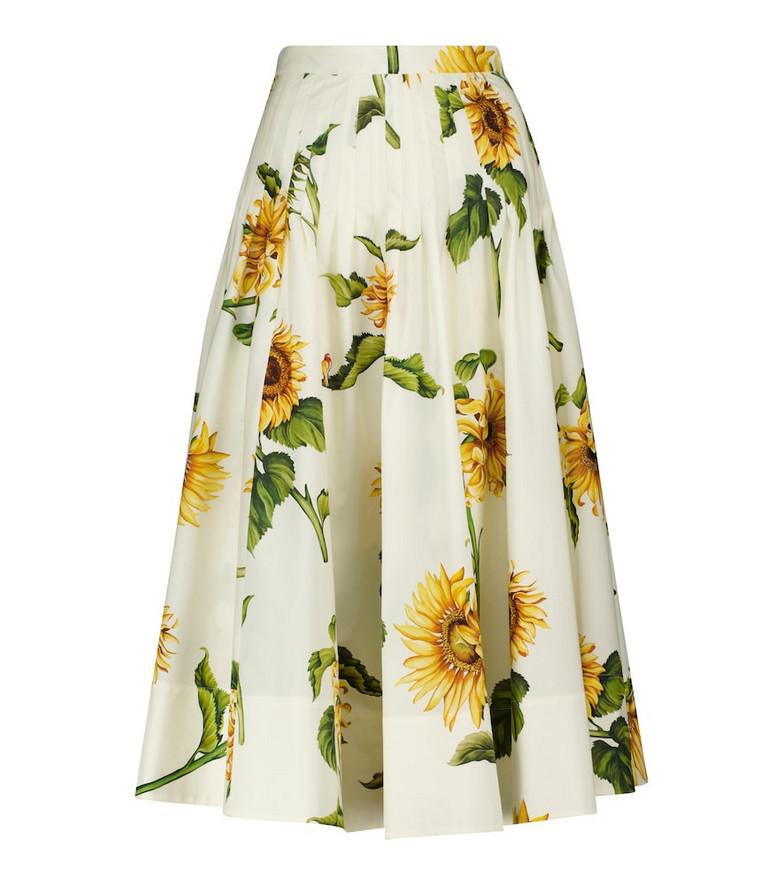 Oscar de la Renta Floral stretch-cotton poplin midi skirt in white