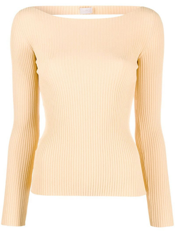MRZ fitted ribbed long-sleeved top in neutrals