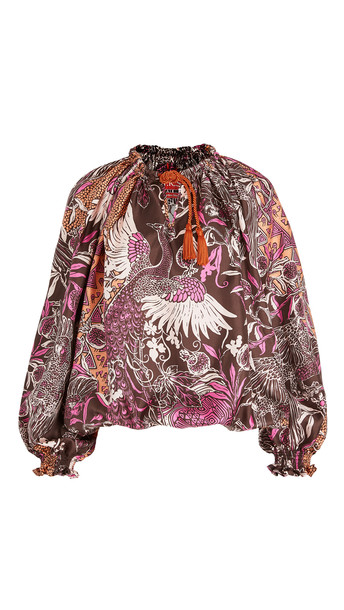 F.R.S For Restless Sleepers Eleno Paradise Silk Twill Top in multi