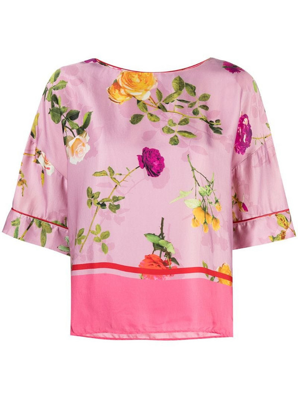 Semicouture floral-print round-neck blouse in pink