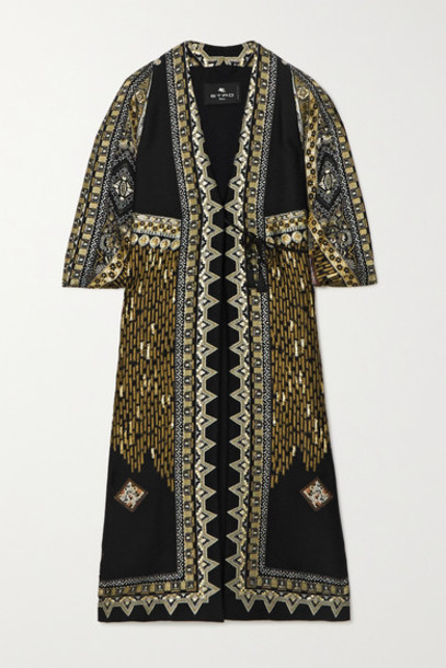 Etro - Metallic Wool-blend Jacquard Coat - Black