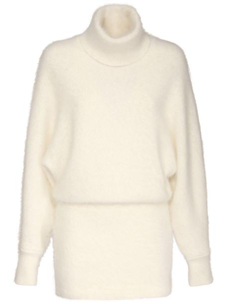 ALEXANDRE VAUTHIER Angora Blend Knit Turtleneck Dress in white