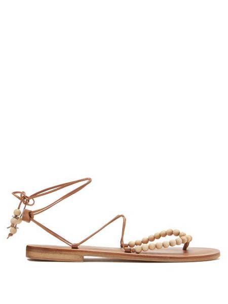 Álvaro Álvaro - Akaiah Beaded Wraparound Leather Sandals - Womens - Tan