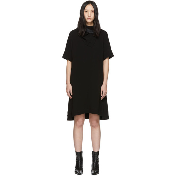 3.1 Phillip Lim Black Crepe Removable Scarf Dress