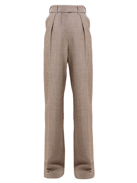 Alexandre Vauthier - Gun Club Houndstooth High Rise Wool Trousers - Womens - Burgundy Multi