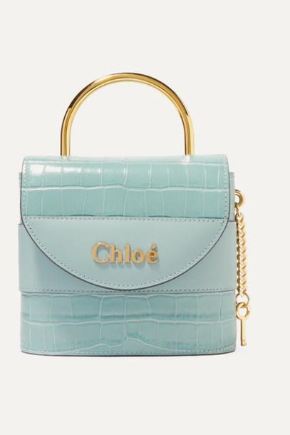 Chloé Chloé - Aby Lock Small Croc-effect Leather Shoulder Bag - Blue