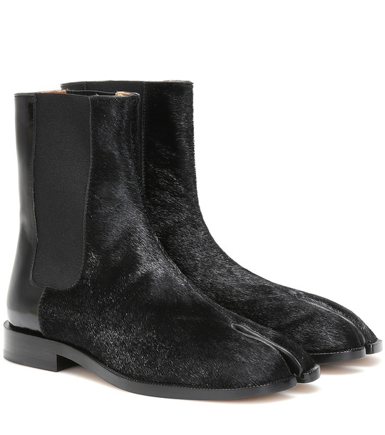 Maison Margiela Tabi leather and fur ankle boots in black