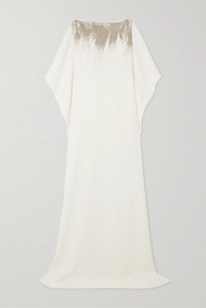 Oscar de la Renta - Bead-embellished Silk-blend Gown - Ivory