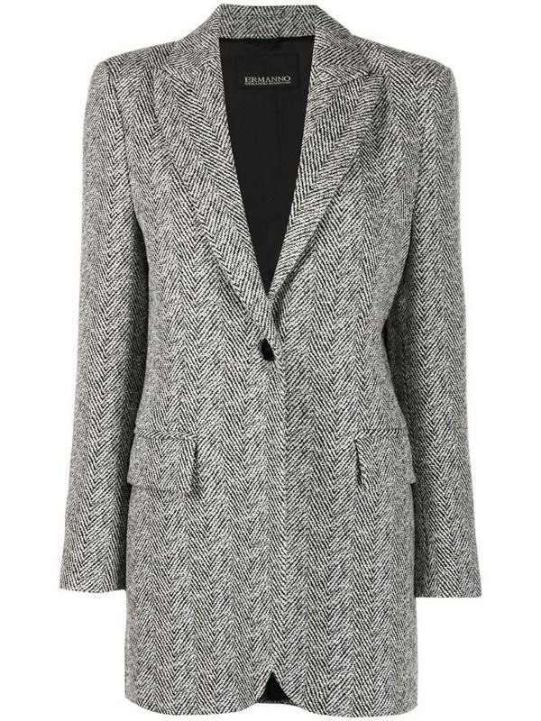 Ermanno Ermanno chevron knit tailored coat in white
