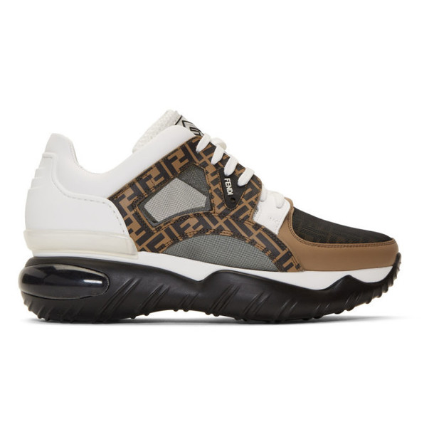 Fendi White & Brown 'Forever Fendi' Chunky Sneakers