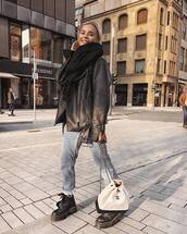 bag,chanel bag,white bag,black boots,lace up boots,combat boots,cropped jeans,boyfriend jeans,black leather jacket,oversized jacket,scarf