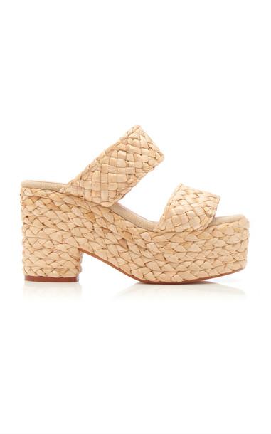 Castañer Raffia Platform Sandals in neutral