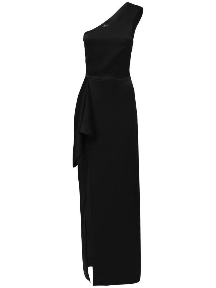 ATLEIN One Shoulder Satin Dress W/ Slit in black