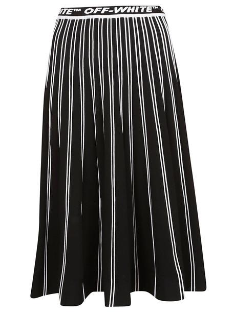 Off-white Logo Pleated Long Skirt in black