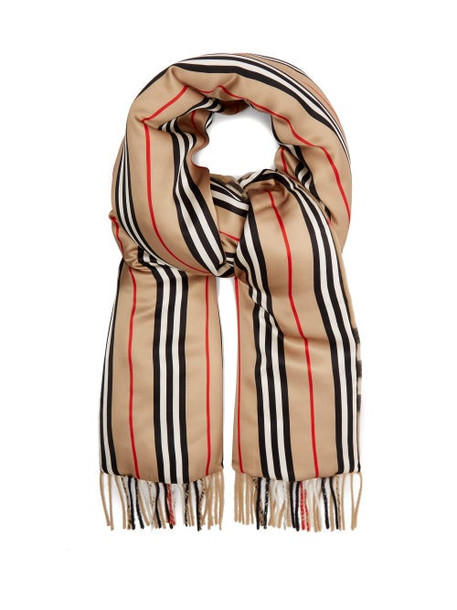 Burberry - Check & Icon Stripe Padded Cashmere And Silk Scarf - Womens - Beige Multi