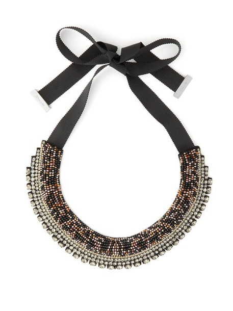 Etro - Crystal And Bead Satin Necklace - Womens - Crystal