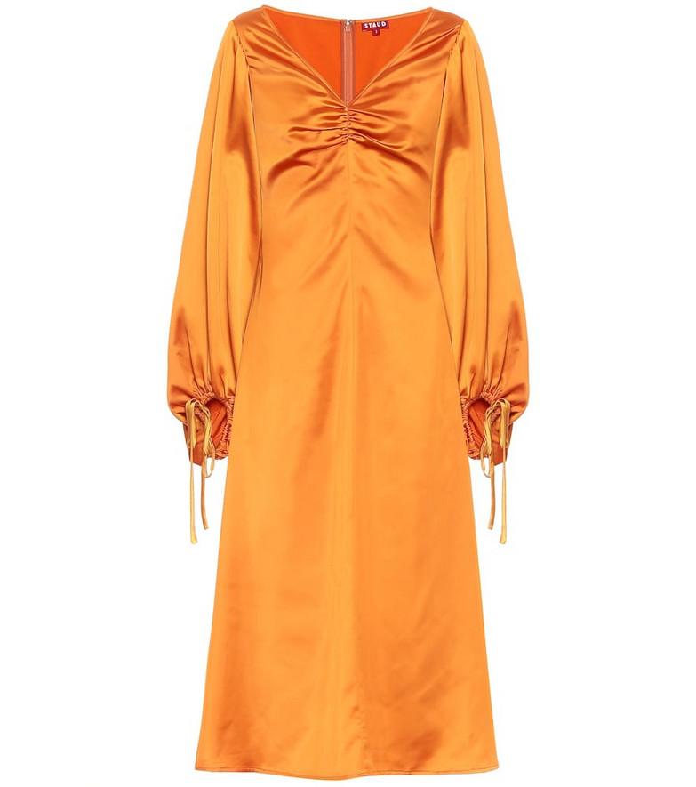 Staud Sofia satin midi dress in orange