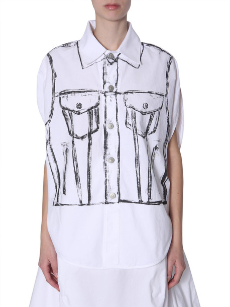 MM6 Maison Margiela Sleevless Shirt in bianco