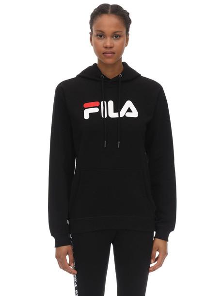 FILA URBAN Logo Cotton Blend Sweatshirt Hoodie in black