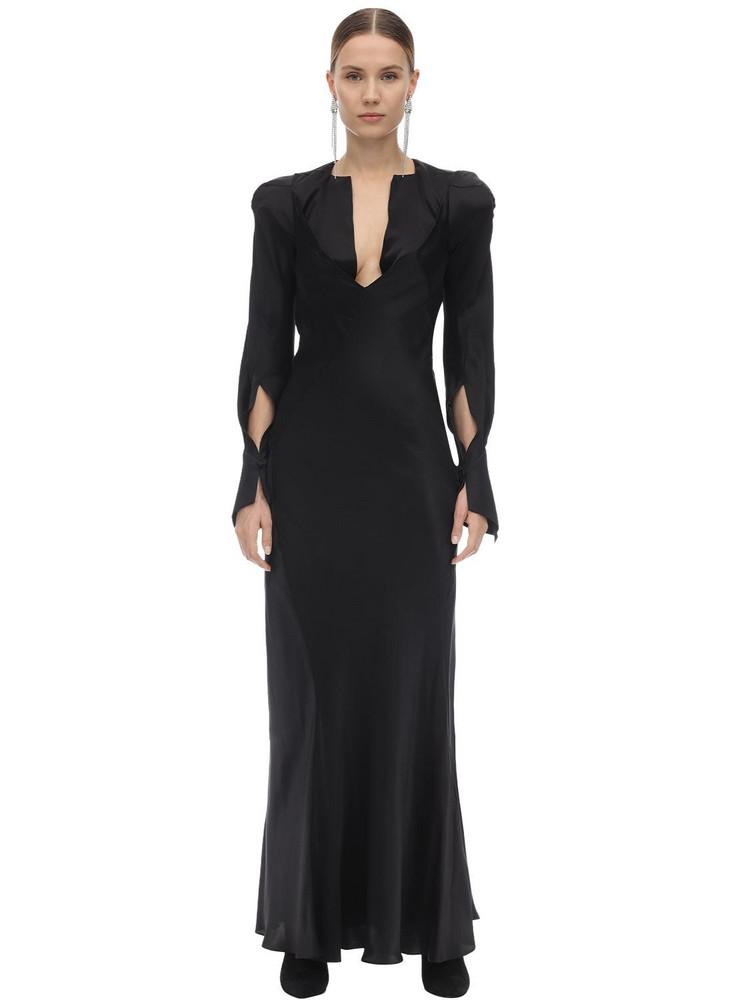 OLIVIER THEYSKENS Silk Flared Midi Dress in black