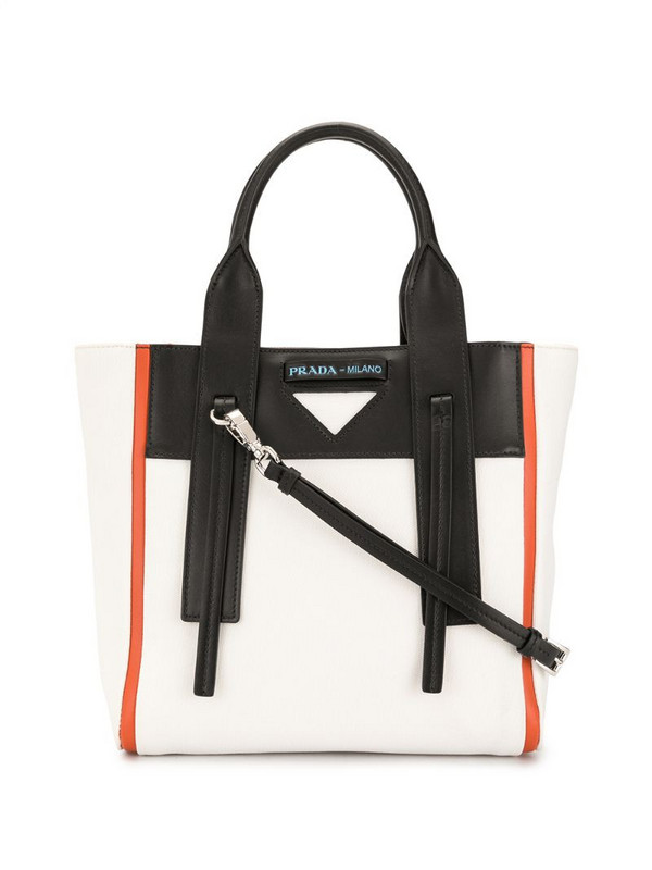 Prada Pre-Owned triangle plaque colour-block two-way bag in white