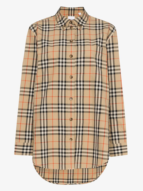 Burberry Button-down Collar Vintage Check Cotton Shirt in brown