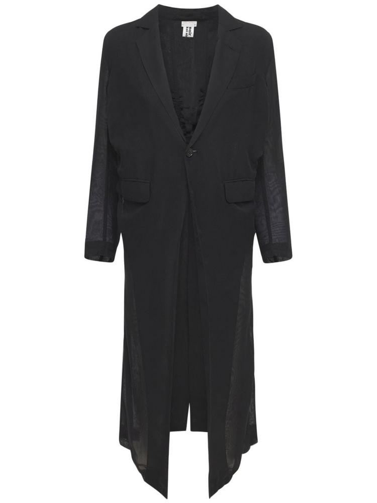 NOIR KEI NINOMIYA Georgette Long Coat W/ Back Ruching in black