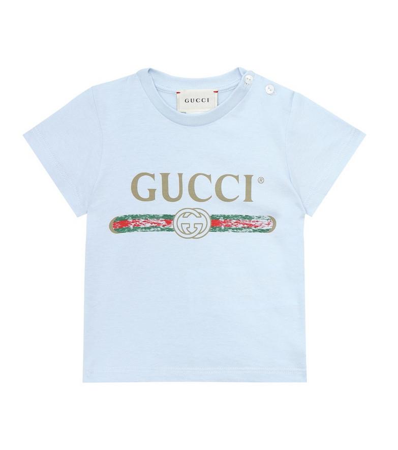 Gucci Kids Logo cotton T-shirt in blue
