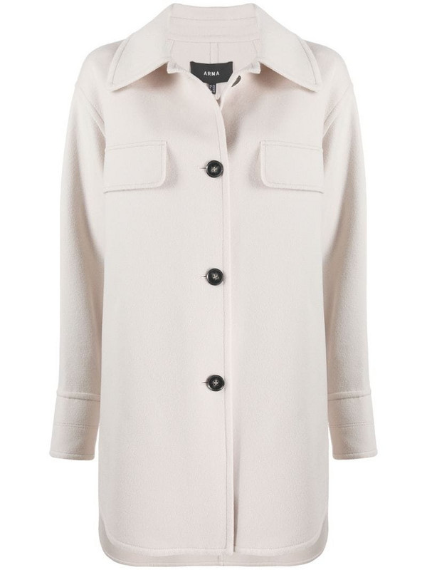 Arma single breasted shirt coat in neutrals