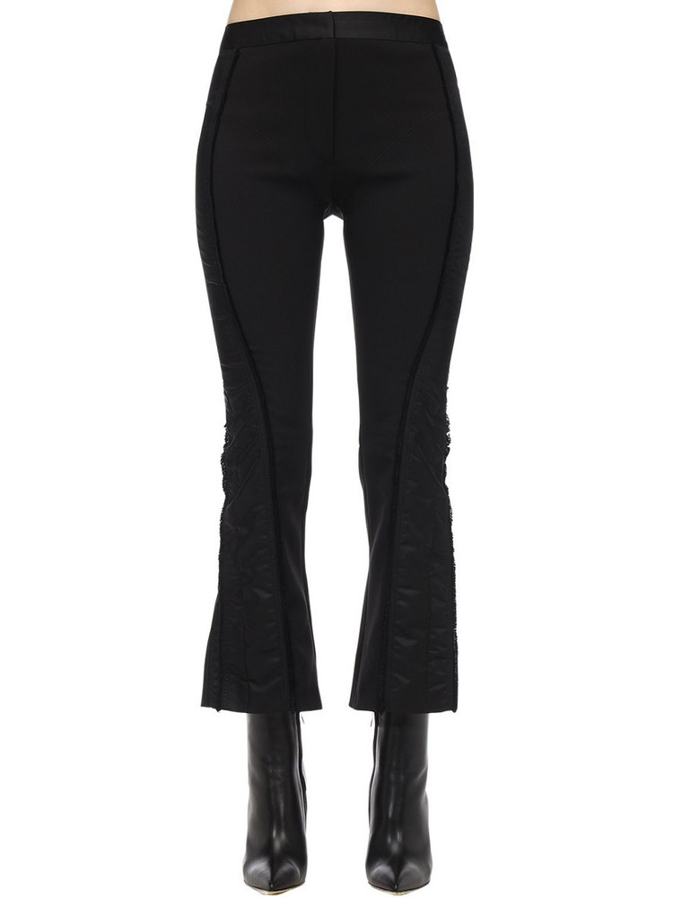 MUGLER Flared Techno Grain De Poudre Pants in black