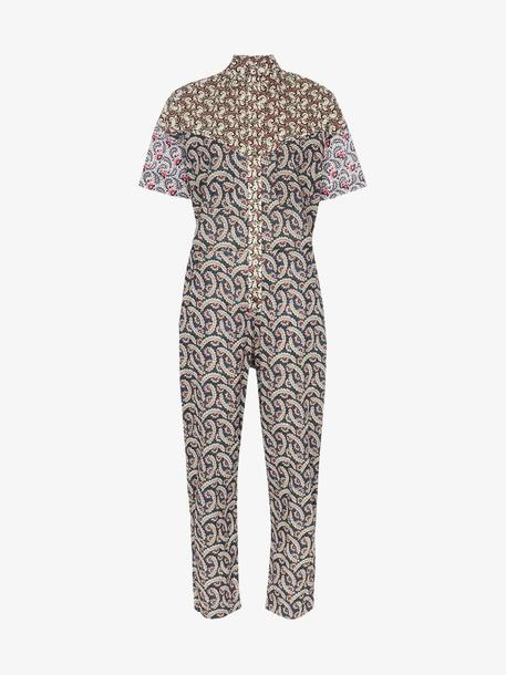 Isabel Marant Étoile Lindsie V-neck patchwork cotton jumpsuit in pink