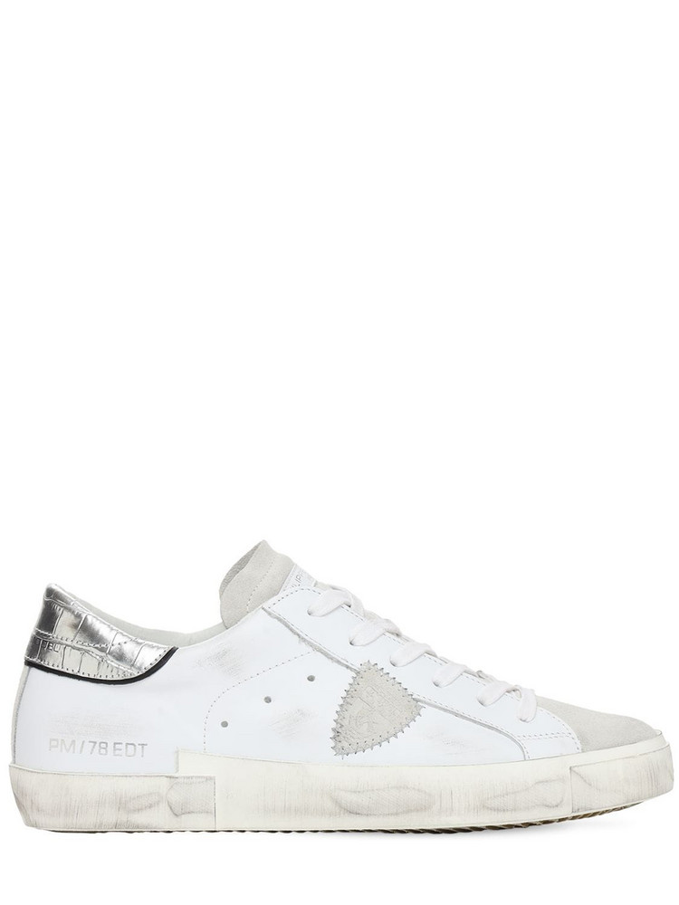 PHILIPPE MODEL Paris Leather & Suede Sneakers in silver / white