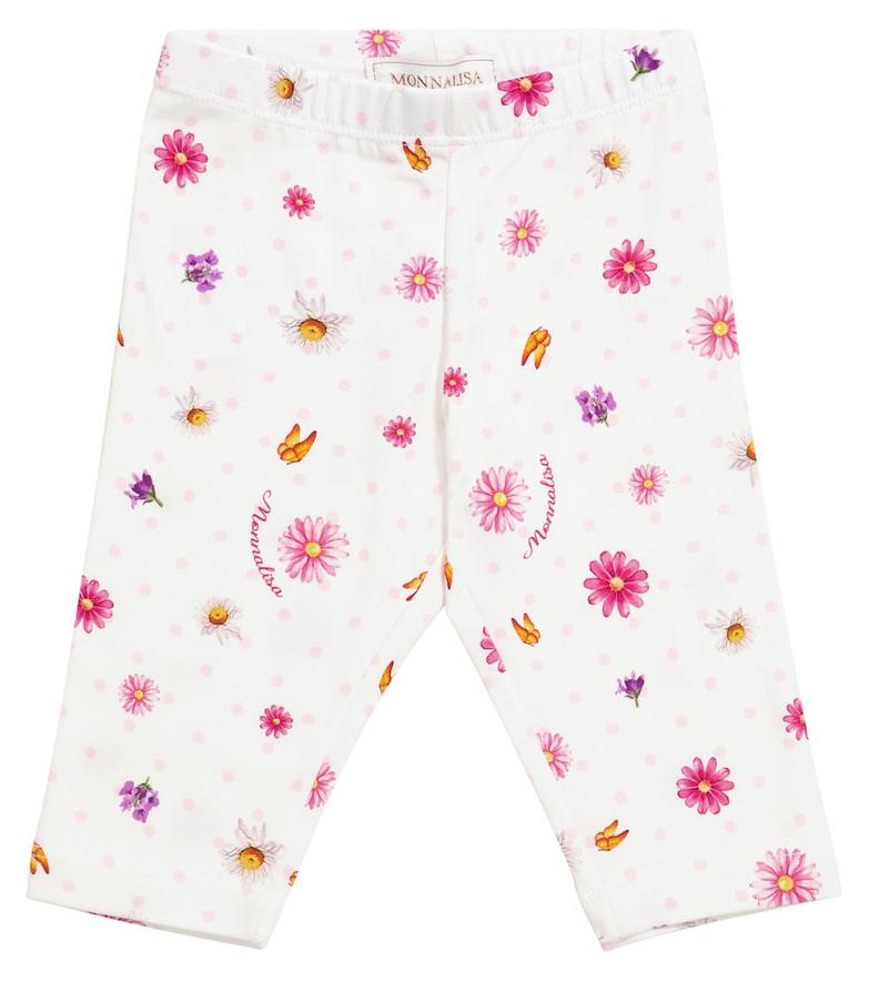 Monnalisa Baby printed stretch-cotton leggings in white