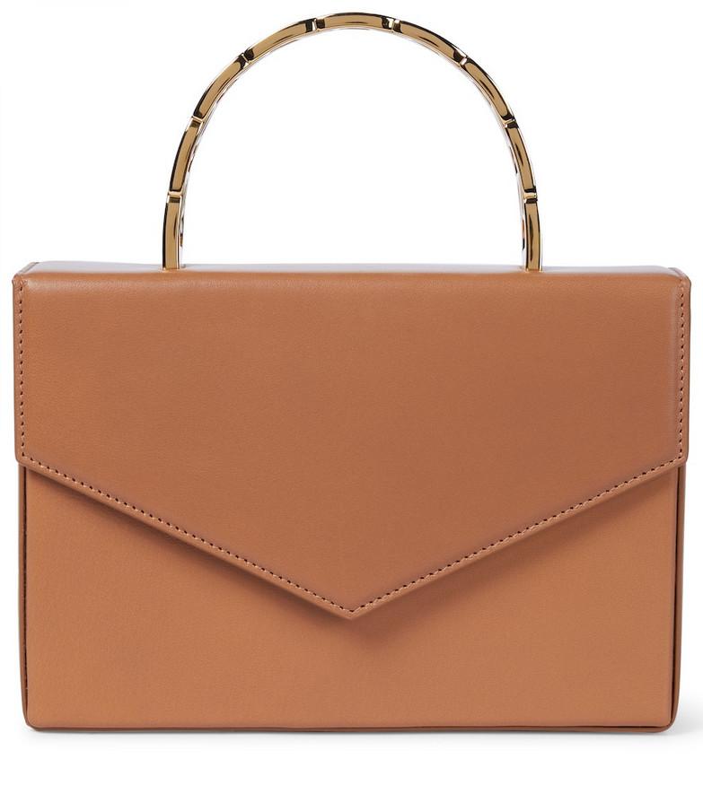 Amina Muaddi Pernille leather tote in brown