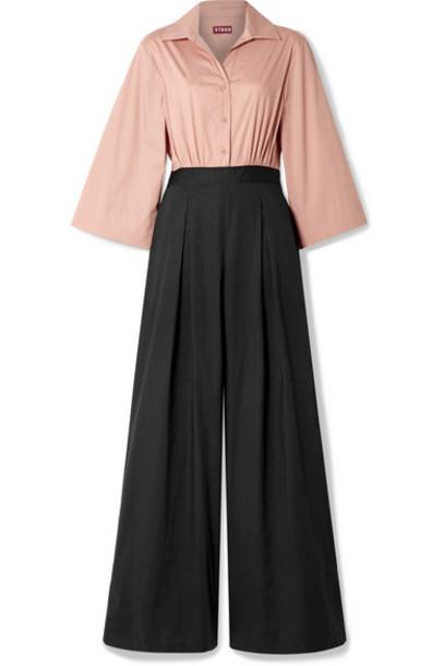 STAUD - Scoti Two-tone Cotton-blend Poplin Jumpsuit - Black
