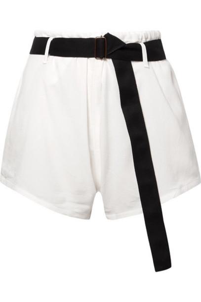 Albus Lumen - Belted Textured-cotton Shorts - White