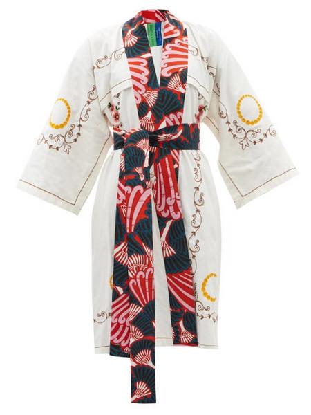 Rianna + Nina Rianna + Nina - Kendima Embroidered Cotton-poplin Robe Coat - Womens - Multi