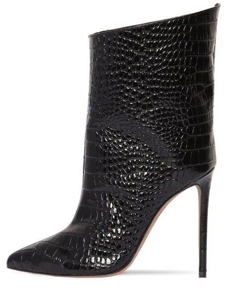 ALEXANDRE VAUTHIER 110mm Croc Embossed Leather Ankle Boots in black