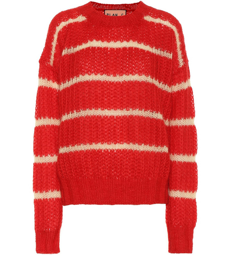 Plan C Striped mohair-blend sweater in red