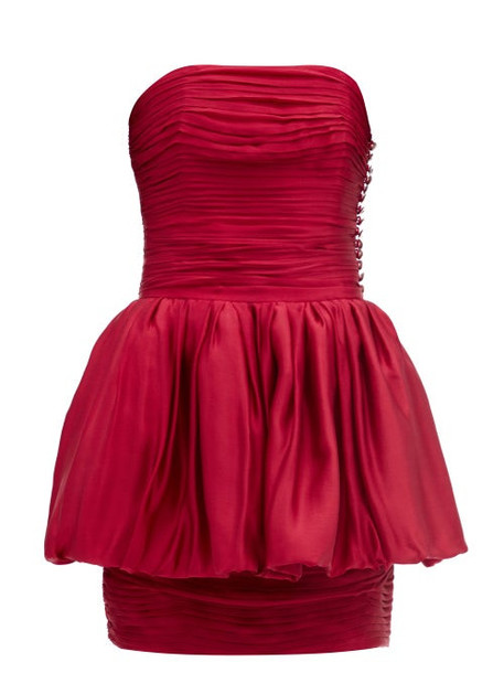 Alexandre Vauthier - Layered Silk-satin Mini Dress - Womens - Red