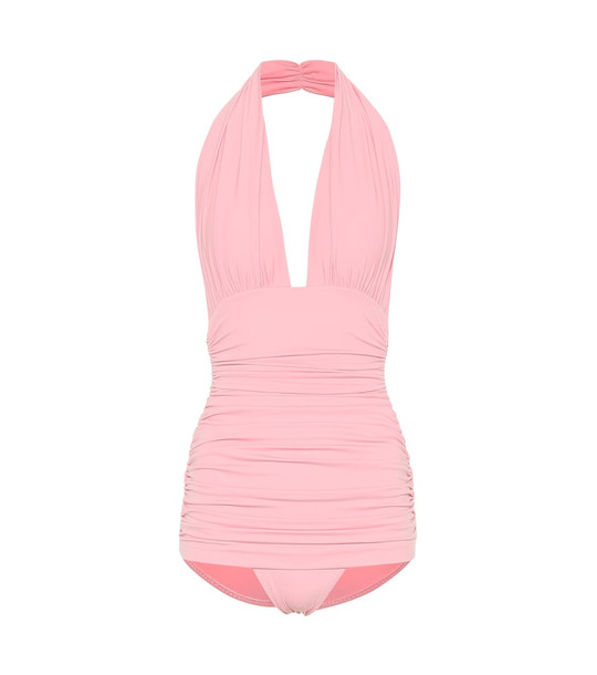Norma Kamali Bill halter one-piece swimsuit in pink
