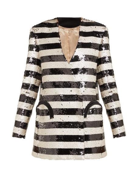 Blazé Milano - Kelpie Striped Sequinned Double Breasted Blazer - Womens - Black White
